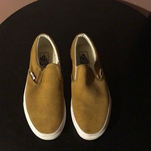 Vans slip on mustard brown